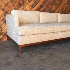 Oatmeal Sofa French Country Mid Century Style Custom Chairish Fabric For Sale Image 7 Of
