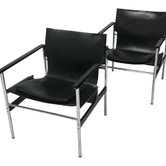 Sling Chairs For Sale Office Chair Race Charles Pollock Knoll Black Leather A Pair Chairish