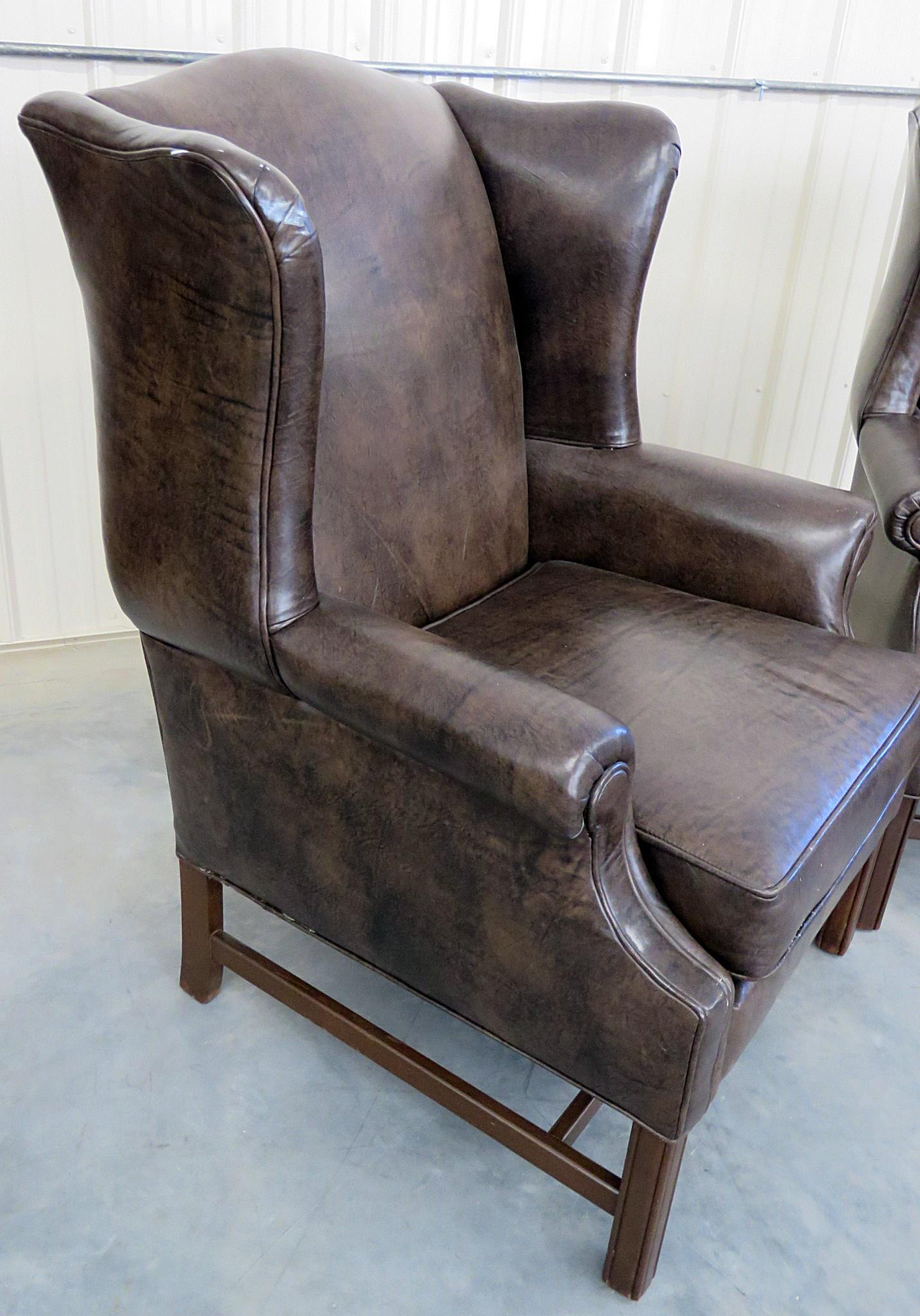 leather wing chairs chaise lounge patio chair exceptional pair of ethan allen wingback decaso brown for sale image 8 11