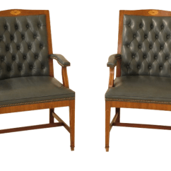 Blue Leather Office Chair Babies R Us High Federal Style Tufted Chairs A Pair Chairish