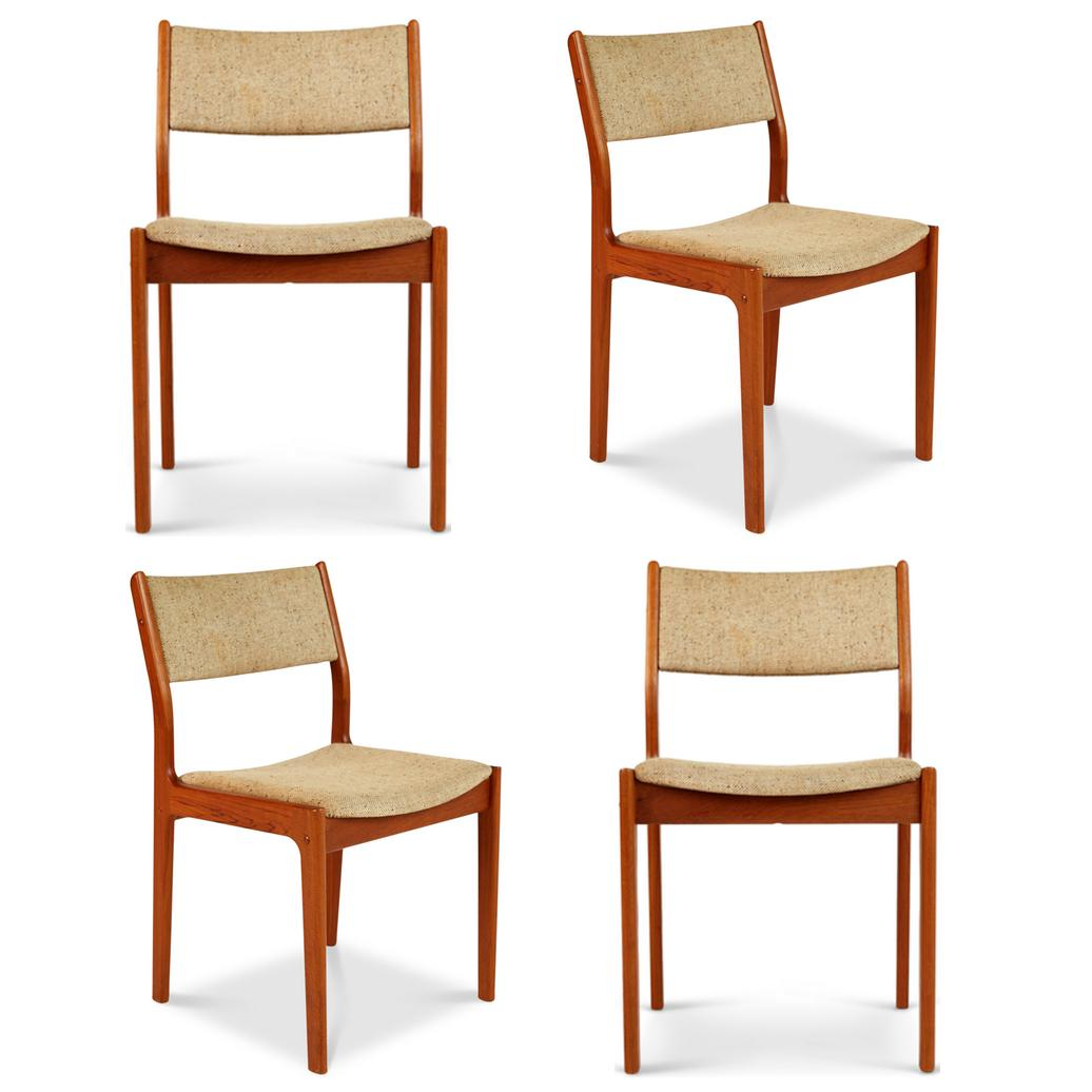 danish modern dining chair spandex covers from china d scan teak chairs set of 4 chairish four comprised warm wood grained upholstered