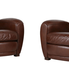 Art Deco Style Club Chairs Counter Height Office Chair Pair Of French Leather Chairish For Sale