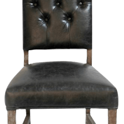 Leather Tufted Dining Chair Grey Upholstered Chairs Uk Black Chairish For Sale