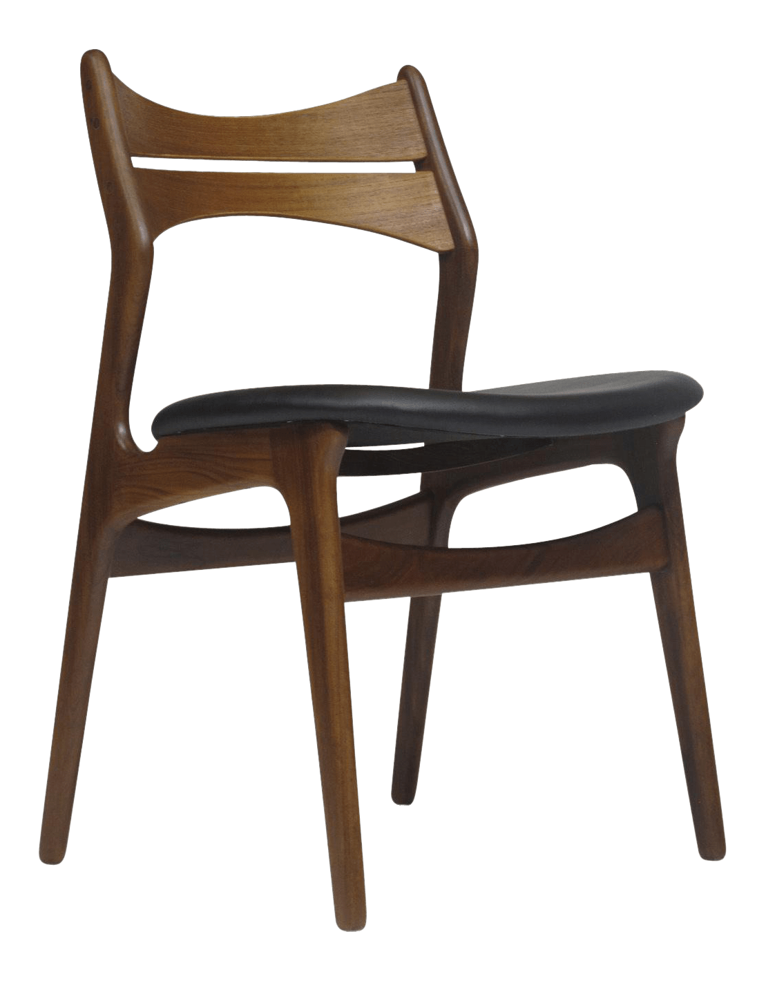 erik buck chairs plastic rocking lovely set of 6 teak dining in black leather decaso six solid with curved back newly restored and upholstered