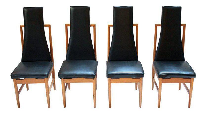 tall back dining chairs at walmart danish modern teak black vinyl set of 4 for