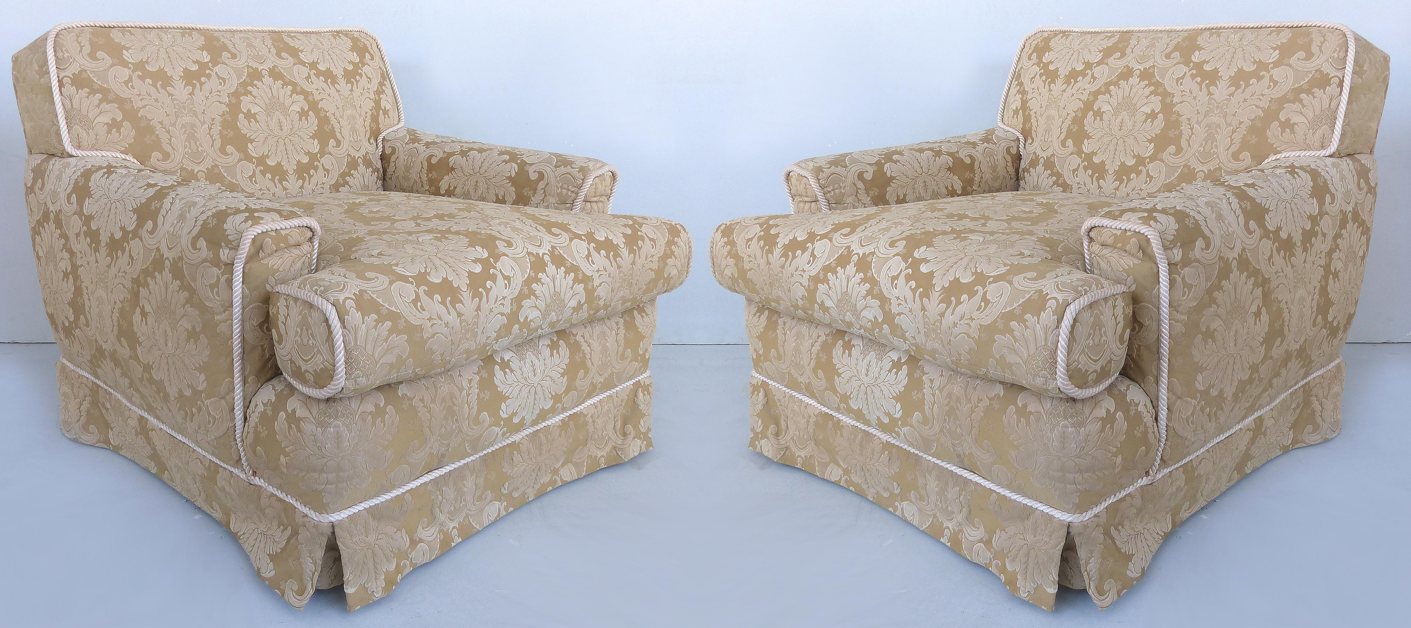 rope bottom chair navy wingback slipcover damask down filled cushion skirted trim club chairs a pair