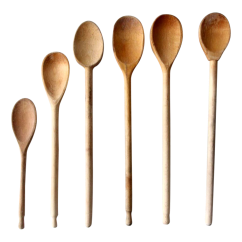 Kitchen Spoons Lowes Counters Vintage Wood Barrel Utensil Holder Wooden Chairish Set Of 6