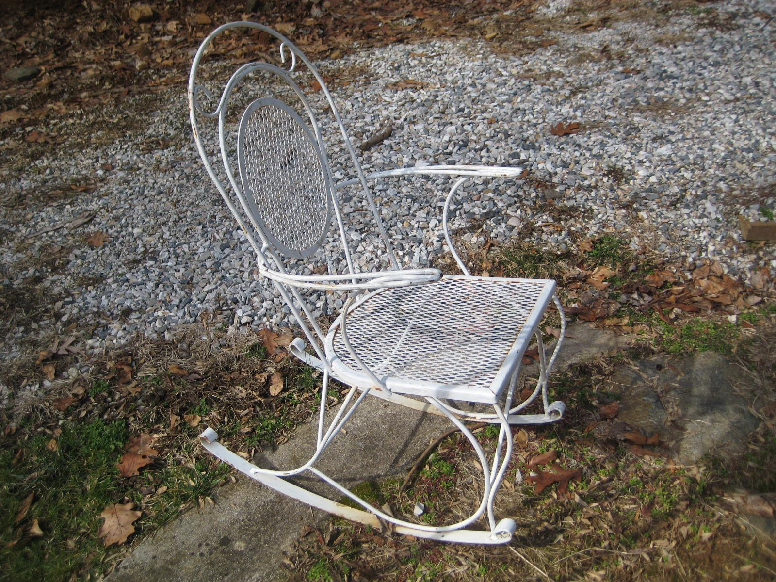wrought iron rocking chair under the tv tables mid century chairish very ornate for porch or patio beautiful simplistic