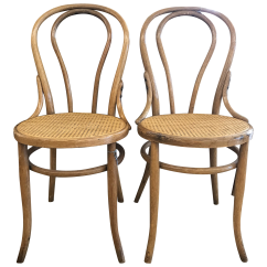 Bentwood Cane Seat Chairs Eames Walnut Lounge Chair Bistro In The Style Of Michael Thonet A Pair For Sale