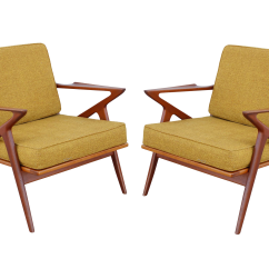 Z Chair Mid Century Colored Resin Adirondack Chairs Poul Jensen For Selig Yellow Teak A Pair