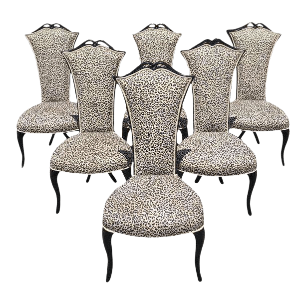 tall back dining chairs desk chair fluffy exquisite french mid century modern ebonized set of 6 for sale
