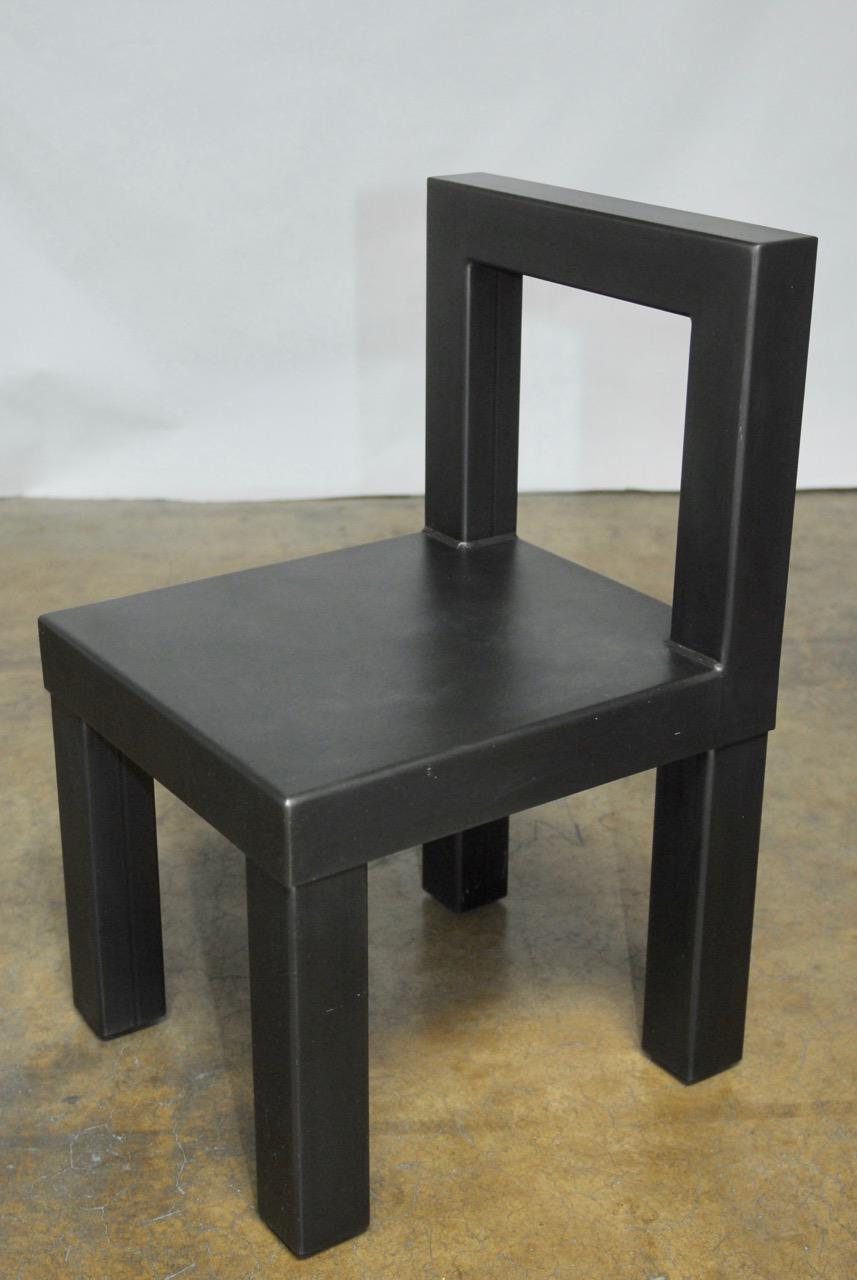 industrial dining chair armless office gunmetal gray steel modern chairs set of 4 for sale image 5