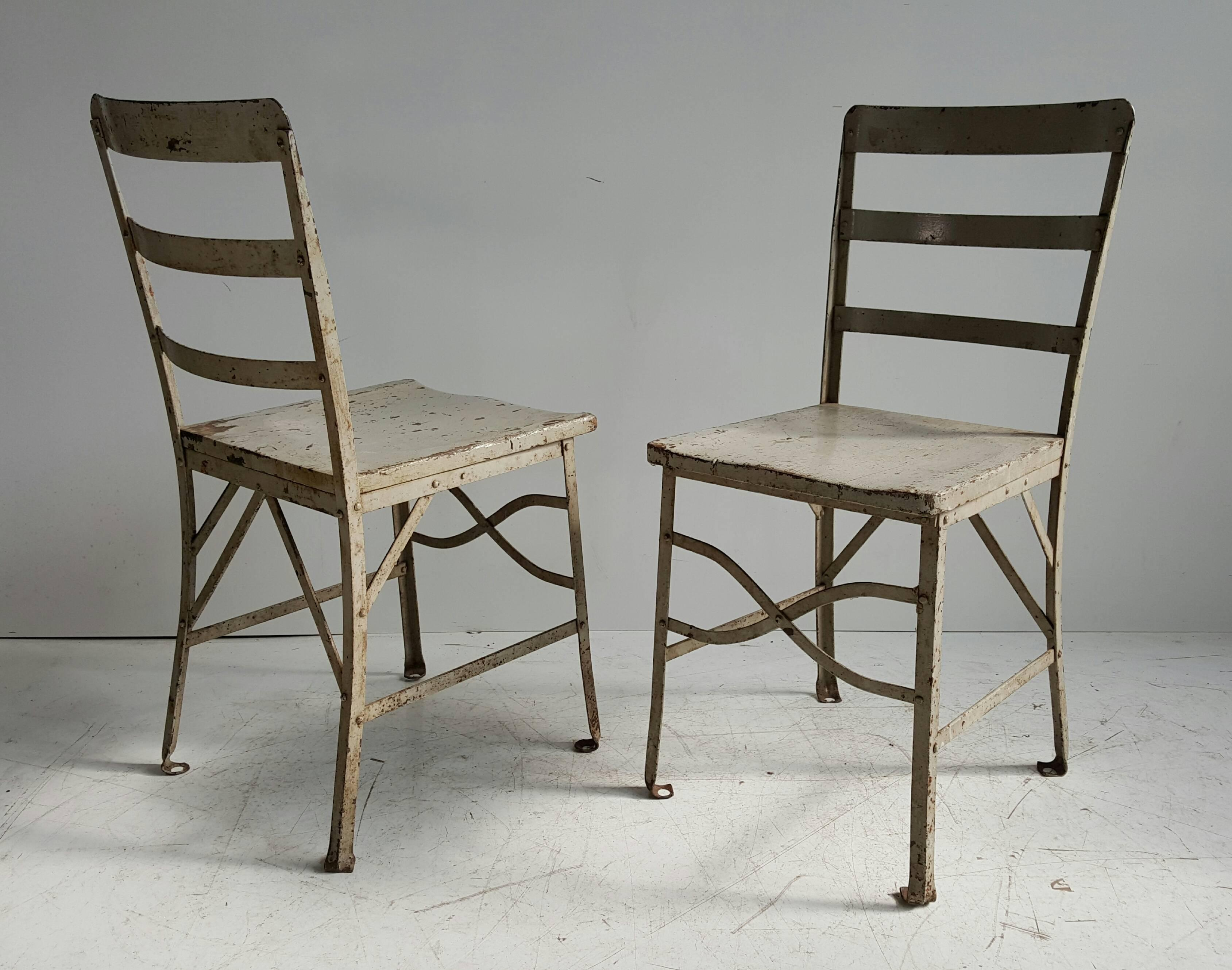 grey painted chairs high chair for elderly american modernist old factory toledo industrial pair of paint attributed to metal