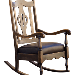 Rocking Chair Antique Styles Inflatable Lounge Mission Style Refinished Maple And Leather For Sale