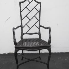 Tall Back Chairs Rocking Lawn Chair Folding Set Of 6 Faux Bamboo Black Chinese Chippendale Dining For Sale In Los