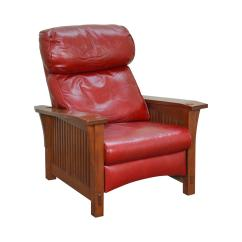 Red Recliner Chairs Swing Chair Stand Only India Stickley Mission Collection Oak Spindle Morris Leather For Sale Image 13 Of