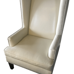 Z Gallerie Chairs Basket Swing Chair India Modern White Accent Wing With Pebbles Chairish For Sale
