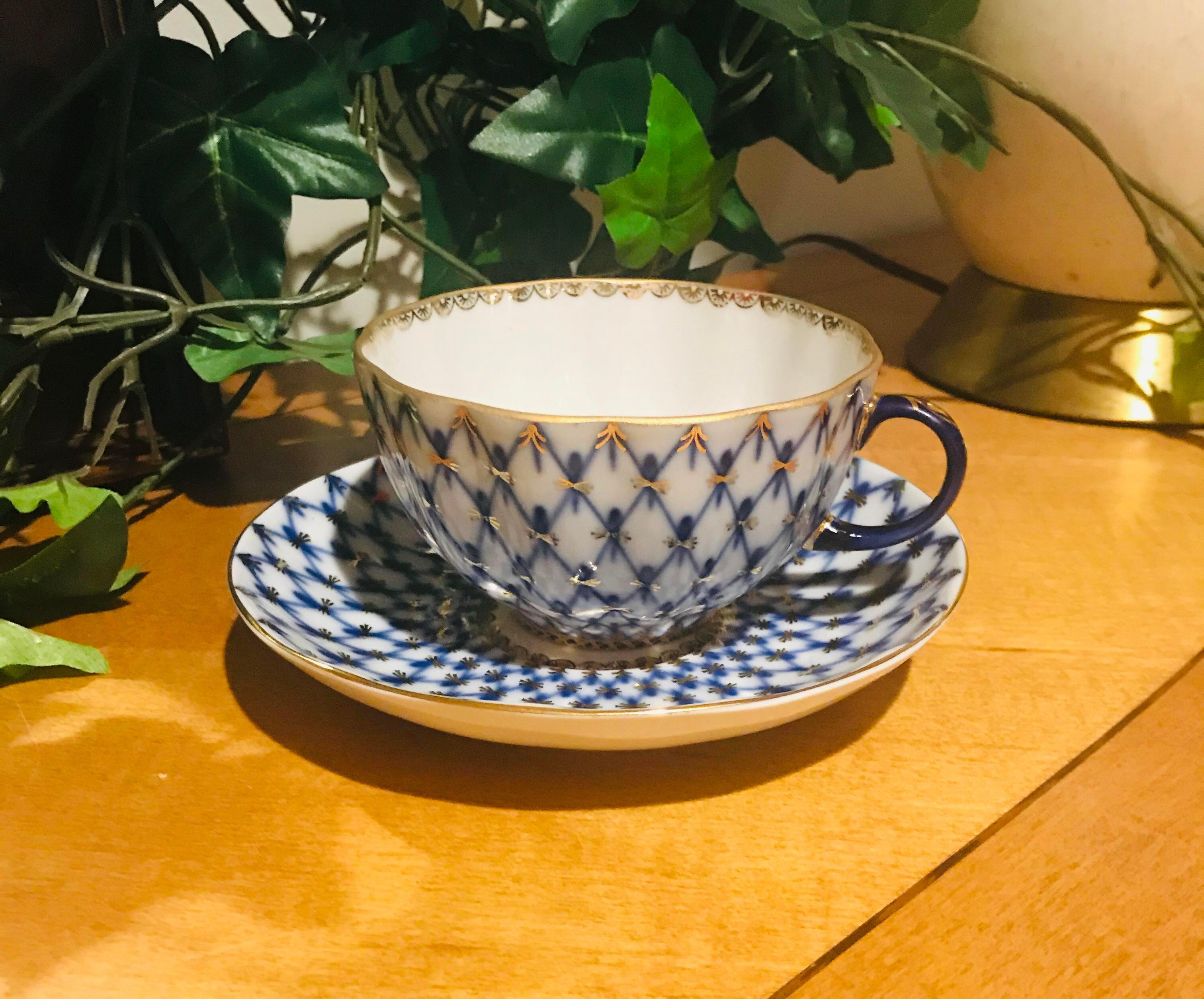 1940s Vintage Lomonosov Russian Cobalt Net Tea Cup And