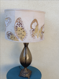 Mid Century Topaz Lamp & Anthropologie Embroidered ...