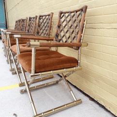 Bamboo Directors Chairs Elmo Fold Out Chair Daystrom Faux Brass Rattan Set Of 6 For Sale