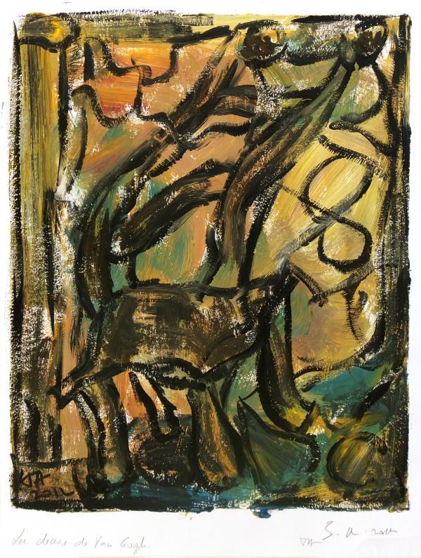 La Chaise De Van Gogh Abstract Acrylic Painting