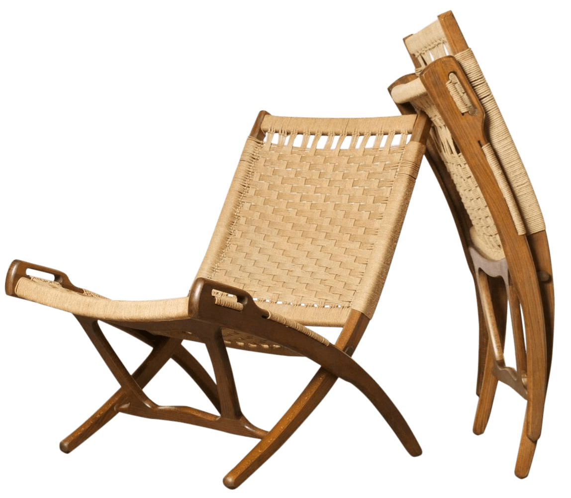 Hans Wegner Folding Chair Hans Wegner Style Folding Rope Chairs A Pair Chairish