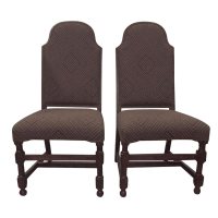 Spanish Boho High-Backed Chairs - a Pair | Chairish