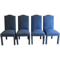 Denim Style Upholstered Parsons Chairs - Set of 4 | Chairish