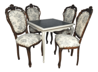 Antique French Game Table and Chairs - Set of 5 | Chairish