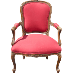 French Provincial Adele Occasional Chair Leather Library Upholstered Red Armchair Chairish