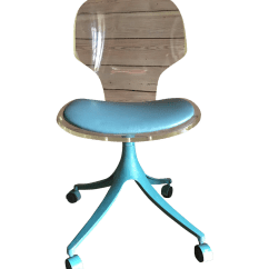 Teal Computer Chair Light Oak Dining Chairs Vintage Lucite And Desk Chairish
