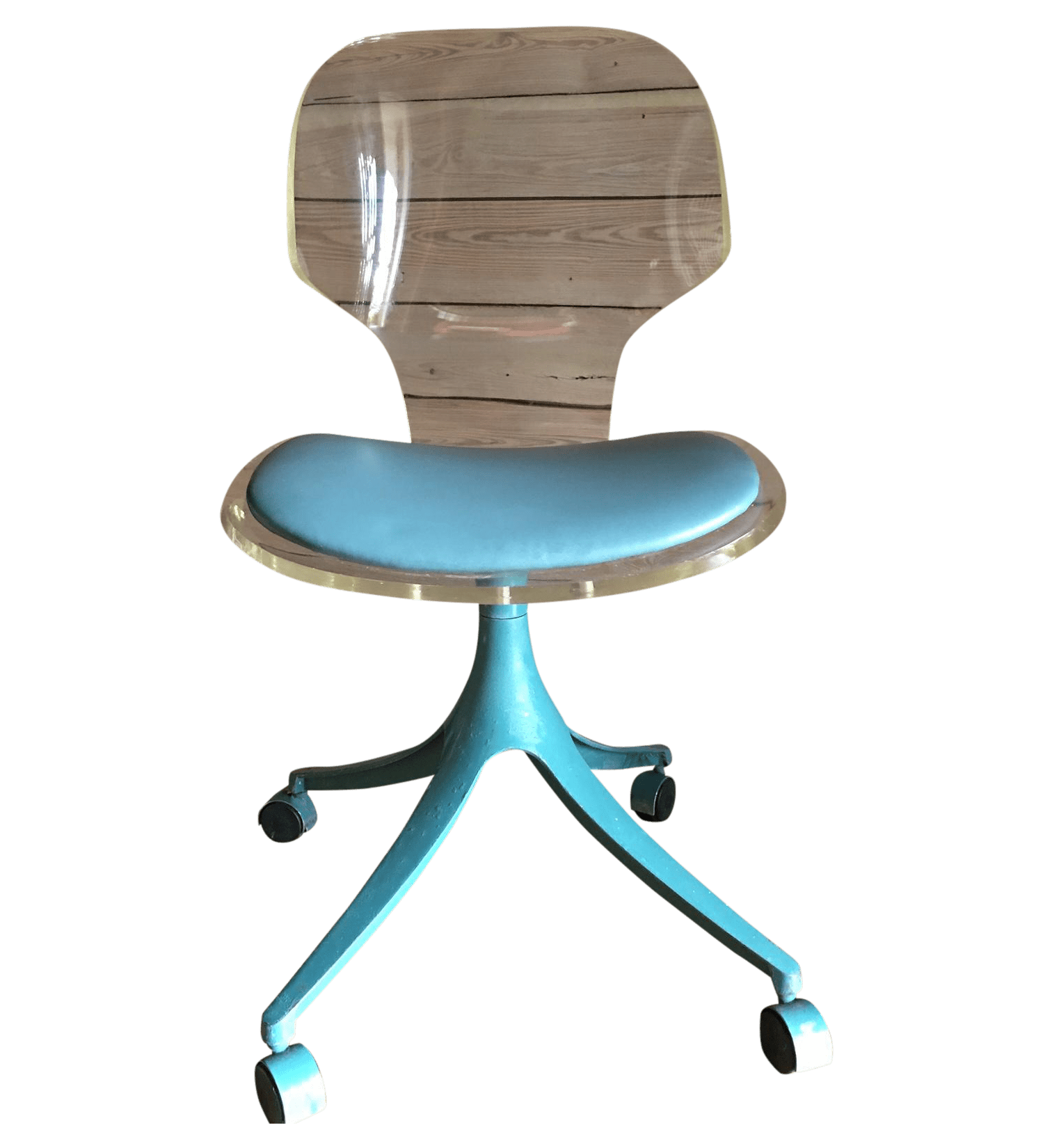 desk chair teal diy bean bag filling vintage lucite and chairish