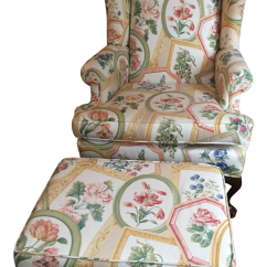 Ethan Allen Wingback Chairs La Z Boy Chair With Fridge Queen Anne Wing And Ottoman Chairish