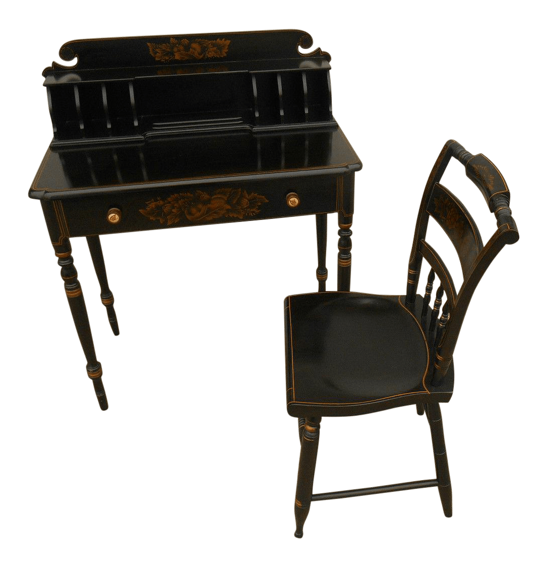 hitchcock desk and chair jazzy mobility parts vintage with matching chairish