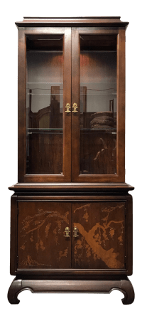 Broyhill Asian Style Chinoiserie Curio Cabinet | Chairish