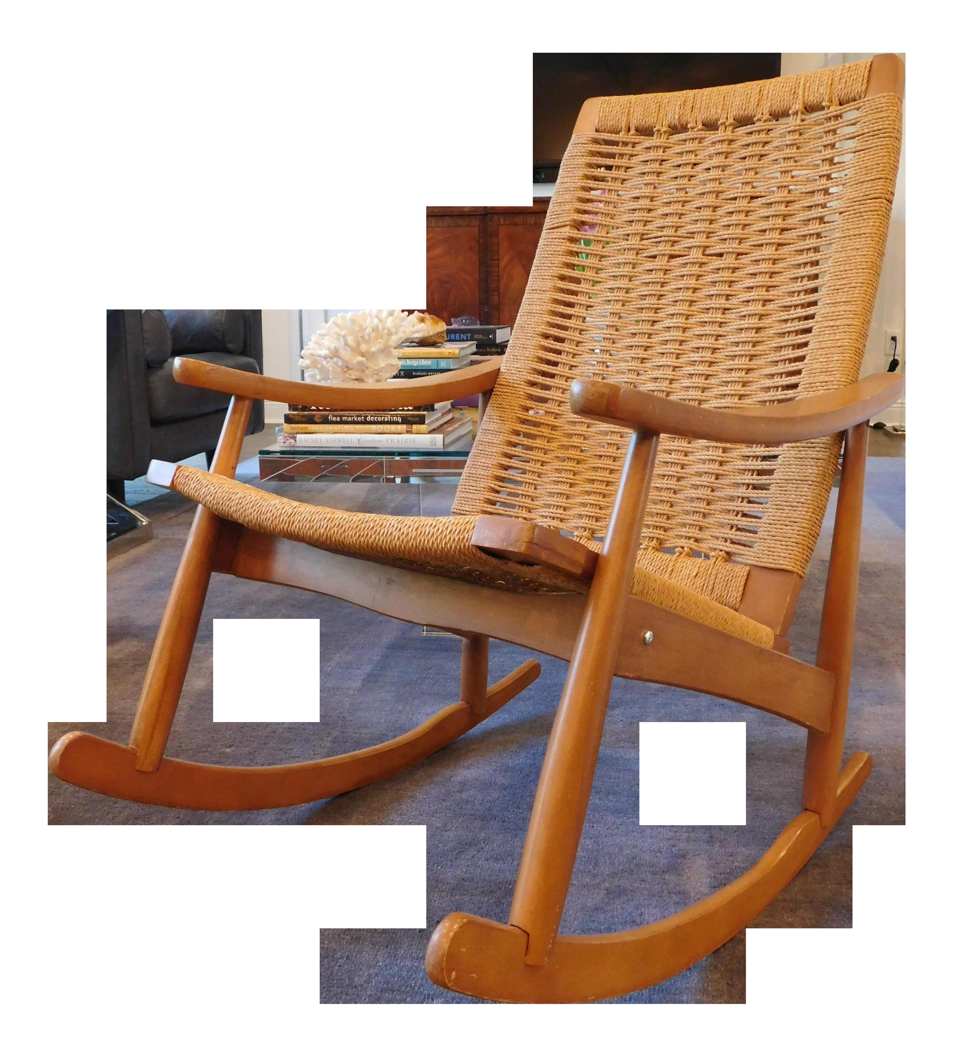 Vintage Yugoslavian Hans Wegner Style Wicker Rocking Chair