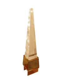 Acrylic Obelisk Brass Base Table Lamp | Chairish