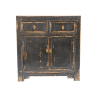 Black Distressed Sideboard Cabinet | Chairish