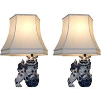 Blue and White Foo Dog Table Lamps - Pair | Chairish