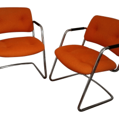 Steel Net Chair Personalized For Baby Orange Chrome Steelcase Cantilever Chairs A Pair Chairish