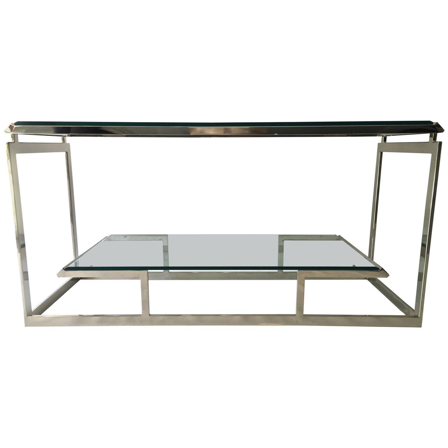 vogue chrome sofa table mid century 3 piece sectional modern and glass console chairish