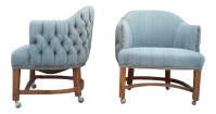 Blue Tufted Barrel Club Chairs - A Pair | Chairish
