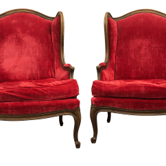 Red Velvet Office Chair Folding Yellow Baker French Wingback Chairs A Pair Chairish