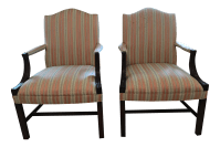 Pink and Green Striped Upholstered Arm Chairs