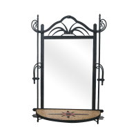 Hand Wrought Iron Southwest Hanging Mirror | Chairish