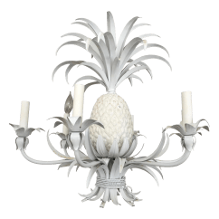 Metal Rocking Chair Runners Rattan Patio Chairs Uk White Pineapple Six Light Chandelier | Chairish
