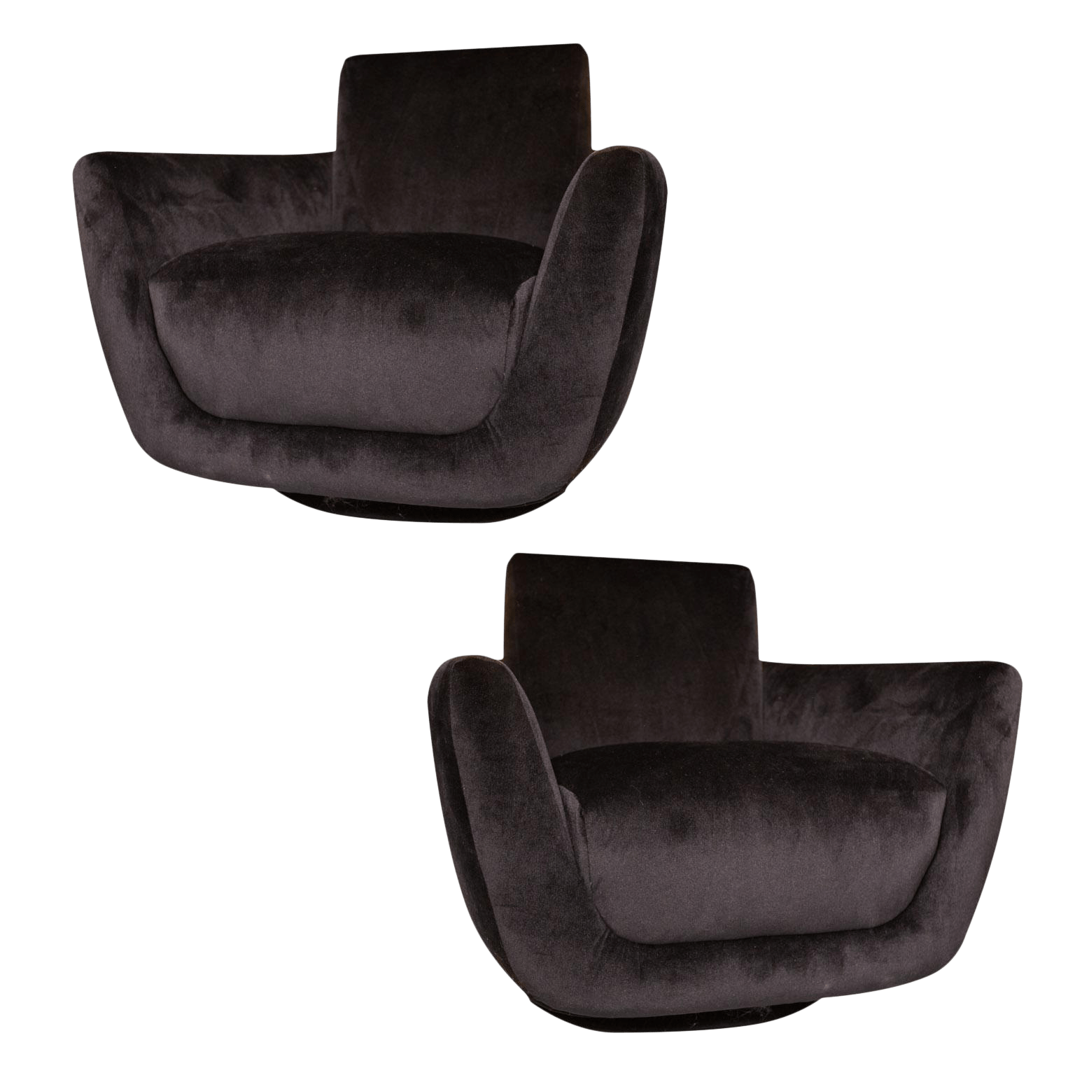 Velvet Club Chair Black Velvet Club Chairs A Pair Chairish