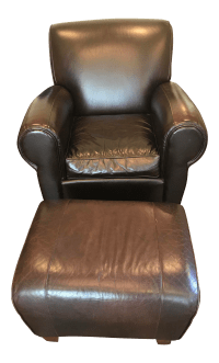 Pottery Barn Leather Chair and Ottoman | Chairish