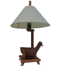 Vintage Rattan Bird and Bamboo Table Lamp | Chairish