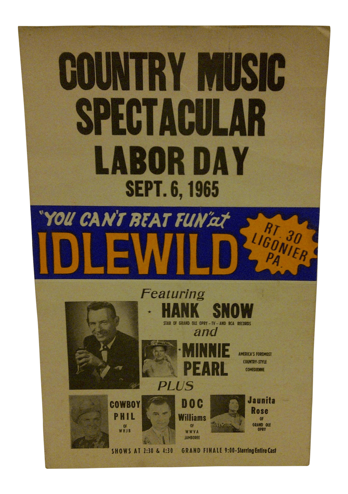 1965 Vintage Country Music Concert Poster  Chairish